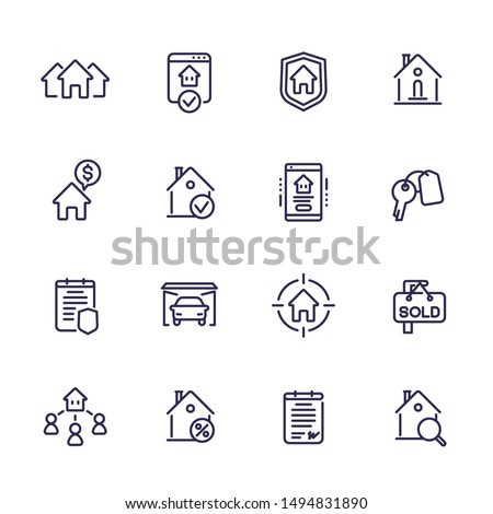 Real estate line icons set, houses for rent, mortgage, insurance