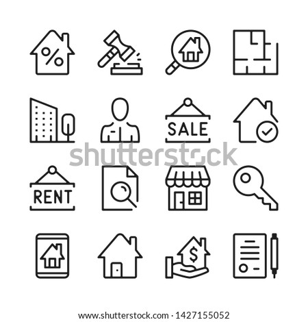 Real estate line icons set. Modern graphic design concepts, simple outline elements collection. Vector line icons