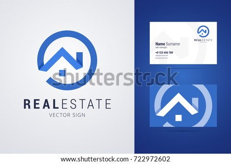 Real estate logo and business card template. Outline style house sign with overlapping shadow effects. Vector illustration for print or web.