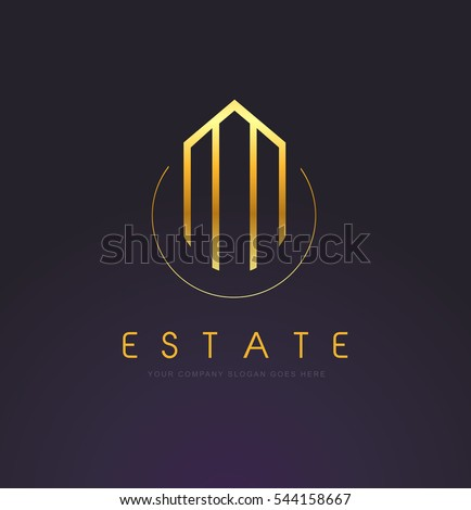 Real Estate Logo Design. Building Gold Logo with Skyscrapers