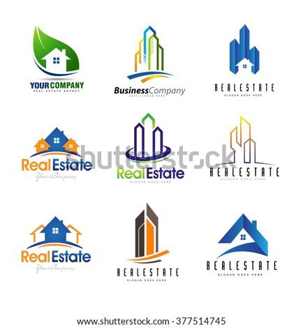 Real Estate Logo Design Set. Creative abstract real estate icons.
