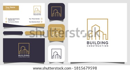 real estate logo design with line art style. city building abstract For Logo Design Inspiration and business card design
