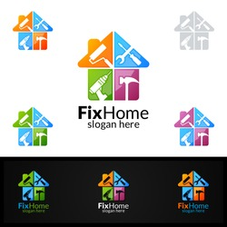 Real estate Logo, Fix Home Vector Logo Design suitable for architecture, handyman,bricolage,Diy,and for another application company