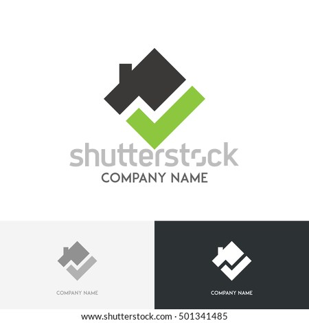 Real estate logo - house with chimney on the roof and check mark square symbol on the white background