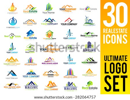 Real Estate Logo Set / Creative House Logo Collection / Abstract Buildings Logo Set