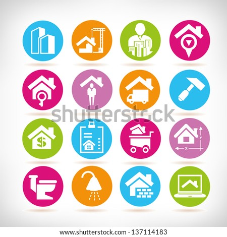 real estate management icon set