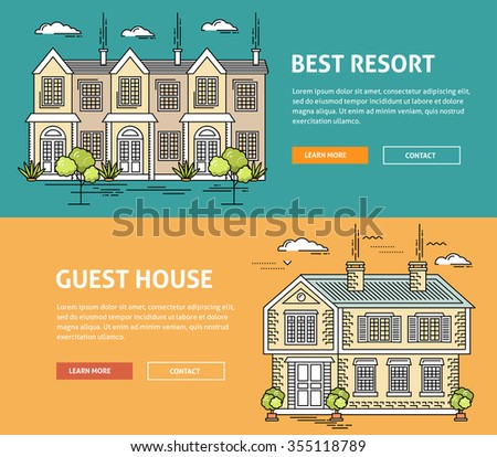 Real estate market flat line web banner. Flat linear vector design for hero or header image. Outlined stroke realty icons. House for sale concept. Property investment, buy, sell, rent house, apartment