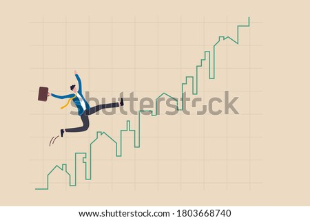 Real estate market price rising up chart, homebuyer or property investment concept, businessman homebuyer or real estate agent happy running on rising up house and building green graph and chart.