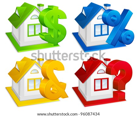 Real estate, model of house with financial symbols, business concept, vector illustration
