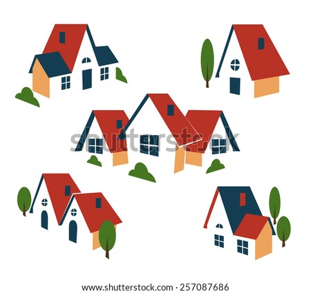 Real Estate or house icons. Building and architecture, cottage and house, roof and symbol. Vector illustration