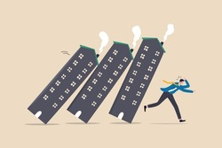 Real estate or property debt crisis causing domino effect, housing and stock market or investment asset fall down concept, panic businessman investor run away from collapsing housing domino.