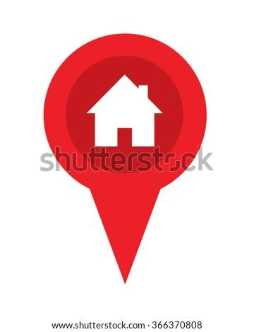 Real Estate Red Pin Symbol