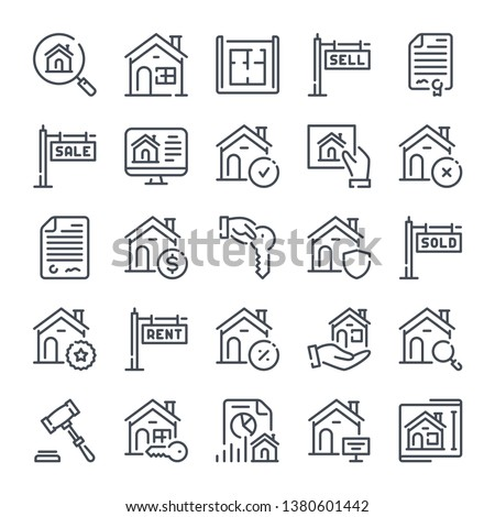 Real Estate related line icon set. Home and apartment linear icons. Commercial property outline vector sign collection.