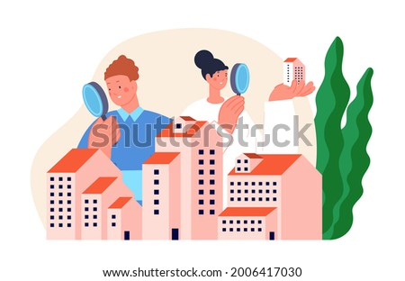 Real estate search. Buying property concept, people group looking home on market. Buy or rent house online, building project utter vector scene