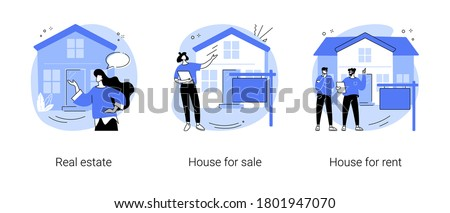 Real estate services abstract concept vector illustration set. Real estate agency, house for sale, house for rent, residential property market, rental listing, mortgage broker abstract metaphor.