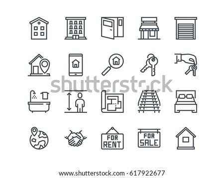 real estate set of outline