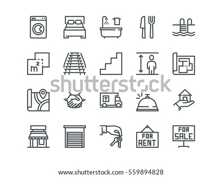Real Estate. Set of outline vector icons on a white background #559894828