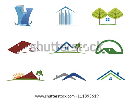 Real estate set of symbols for logo designing - stock vector