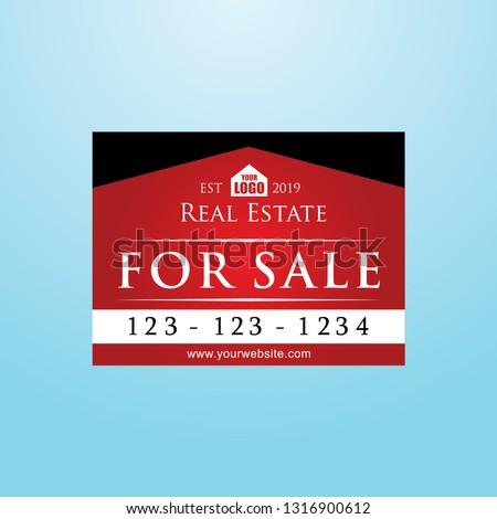 Real Estate Signage, Red Color For Sale Yard Sign