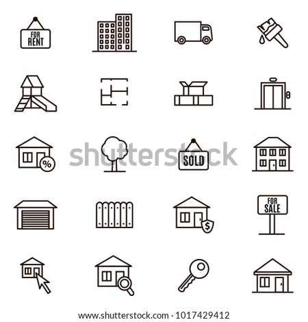 Real Estate Signs Black Thin Line Icon Set Include of Building, Apartment, Key, Garage and Plan Flat. Vector illustration of Icons