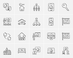 Real estate sketch icon set for web, mobile and infographics. Hand drawn real estate icon set. Real estate vector icon set. Real estate icon set isolated on white background.