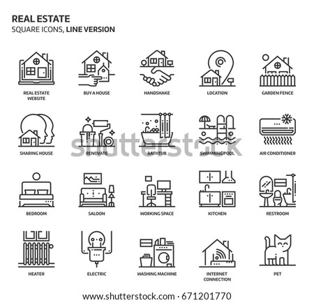Real estate, square icon set. The illustrations are a vector, editable stroke, thirty-two by thirty-two matrix grid, pixel perfect files. Crafted with precision and eye for quality.