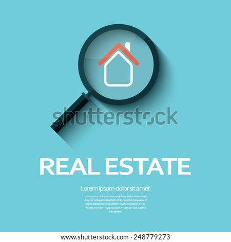 Real estate symbol of a house under magnifying glass. Suitable for posters, flyers or advertisement of real estate agents and location. Eps10 vector illustration