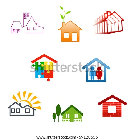 Real estate symbols for design and decorate - also as emblem or logo template. Jpeg version also available in gallery
