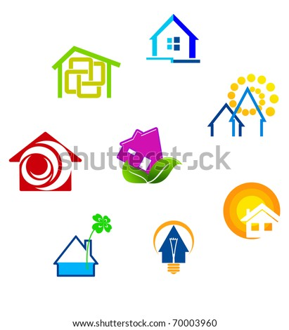 Real estate symbols for design and decorate - also as emblem or logo template. Jpeg version also available