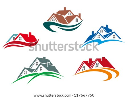 Real estate symbols - roofs of houses and buildings, such a logo idea. Jpeg version also available in gallery