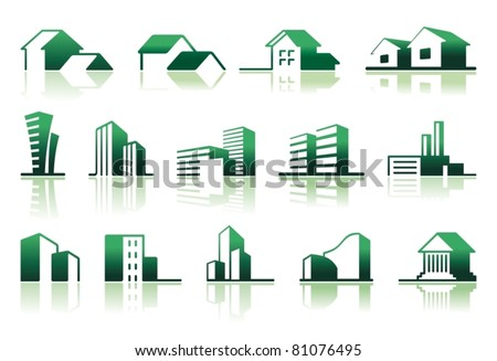 Real estate symbols Simple symbols of real estate
