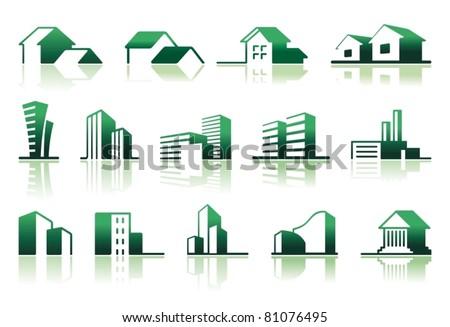 Real estate symbols Simple symbols of real estate