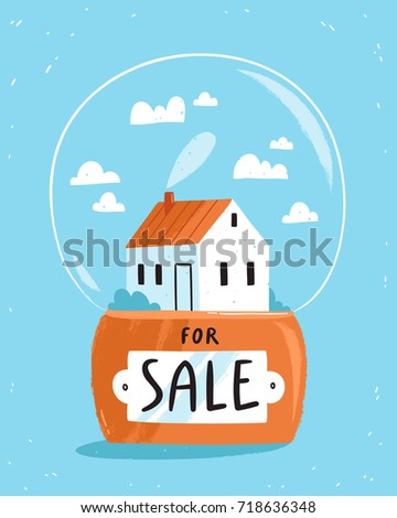 Real estate theme, house for sale vector illustration