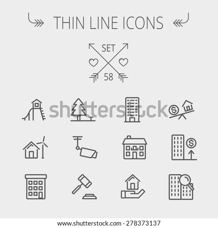 Real estate thin line icon set for web and mobile. Set includes- pine tree, antenna, gavel, playhouse, windmill, buildings icons. Modern minimalistic flat design. Vector dark grey icon on light grey
