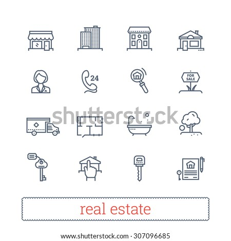Real estate thin line icons. Vector set of leasing, renting, buying and selling realty signs.