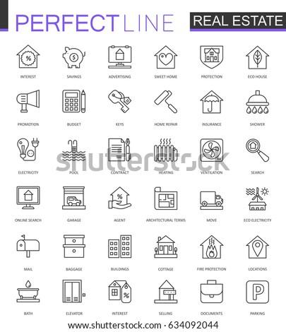 Real Estate thin line web icons set. Outline stroke icon design.
