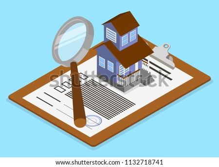 Real estate valuation and insurance. Isometric illustration with documents and house on blue background. Vector 3d design.
