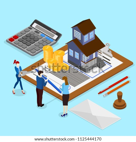 Real estate valuation and insurance. Isometric illustration with people and house on blue background. Vector 3d design.