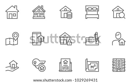 Real Estate Vector Flat Line Icons Set. Map, Plan, House, Apartment, Realtor. Editable Stroke. 48x48 Pixel Perfect.
