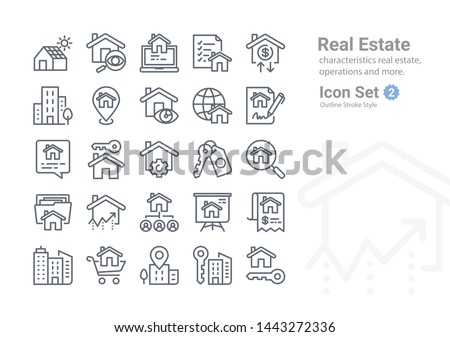 Real Estate vector icon collection with outline Stroke