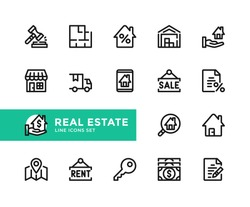 Real estate vector line icons. Simple set of outline symbols, graphic design elements. Line icons