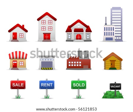 Real Estates Property Icon Set Vector - stock vector