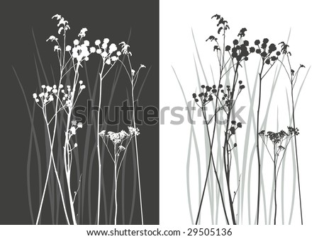real grass silhouette - vector - two colors