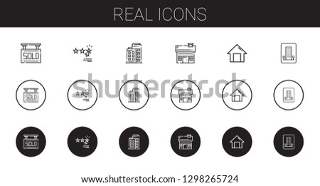 real icons set. Collection of real with sold, rating, building, house, home, hotel. Editable and scalable real icons.