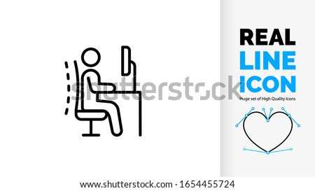 real line icon symbol of ergonomics office chair posture proper employee back body position for spine and neck care human stickman or stick figure pose on adjustable desk as black light stroke vector