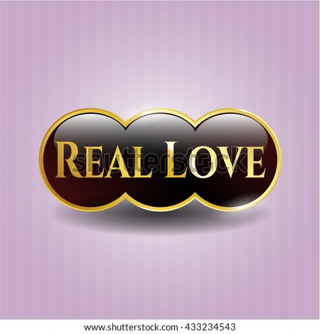 Real Love golden emblem or badge