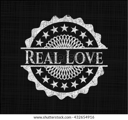 Real Love written with chalkboard texture