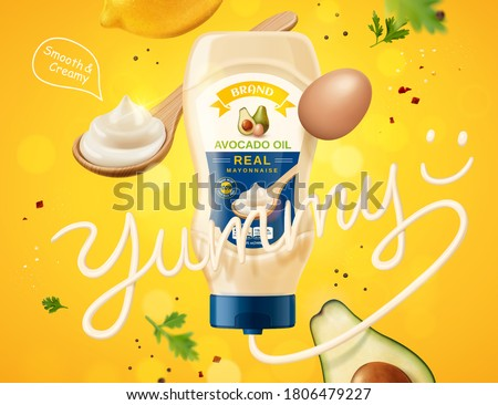Real mayonnaise ad with dynamic layout of fresh ingredients and yummy word made of sauce, 3d illustration