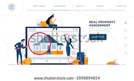 Real property assessment homepage template. Appraisers are doing property inspection of a house. Real estate valuation, home value, professional appraisal concept for web. Flat vector illustration Photo stock ©