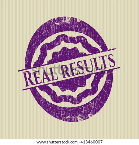 Real results rubber stamp with grunge texture